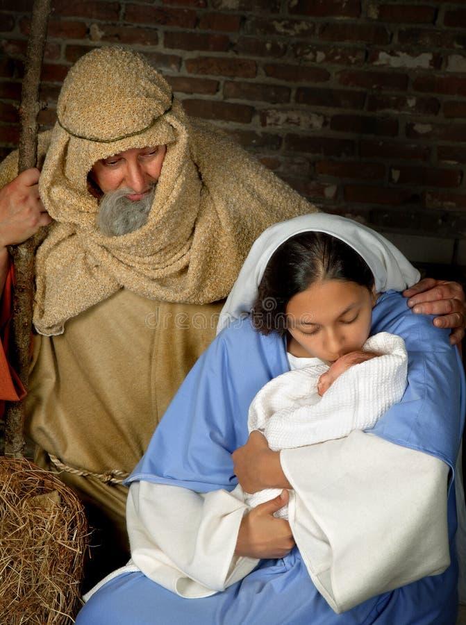 Weihnachtsheilige Familie lizenzfreies stockfoto