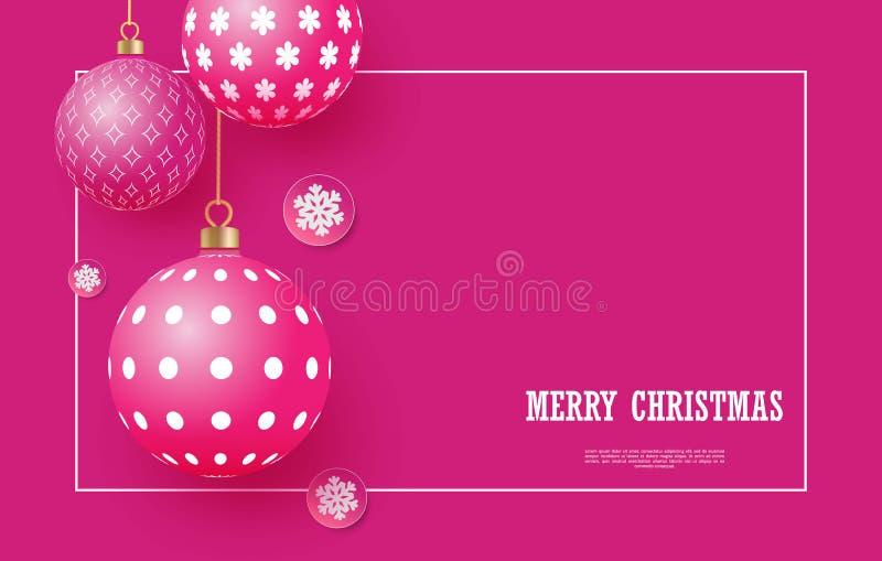 Weihnachtsheller rosa Flitter mit geometrischen Mustern und Schneeflocken Abstrakter Weihnachtshintergrund in den hellen Farben lizenzfreie abbildung