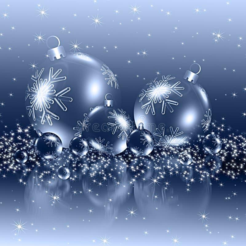 Weihnachtshintergrund-Blaubälle stock abbildung