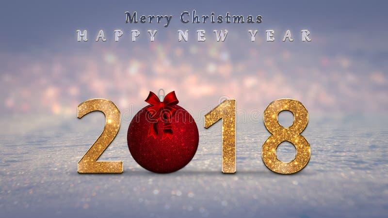 Weihnachtshintergrund, Karte, Illustration mit Goldenem, funkeln 2018 Zahlen, roter Weihnachtsflitter, Ball stock abbildung