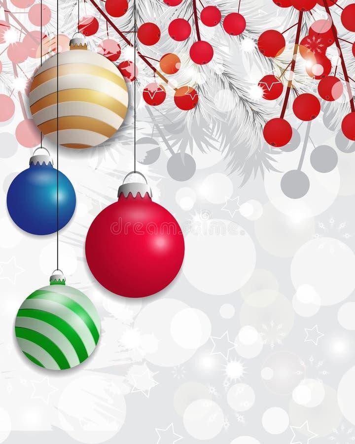 Weihnachtshintergrund mit Abies grandis-Niederlassungen und Stechpalmenbeeren und bunter Flitter Vektor lizenzfreie abbildung