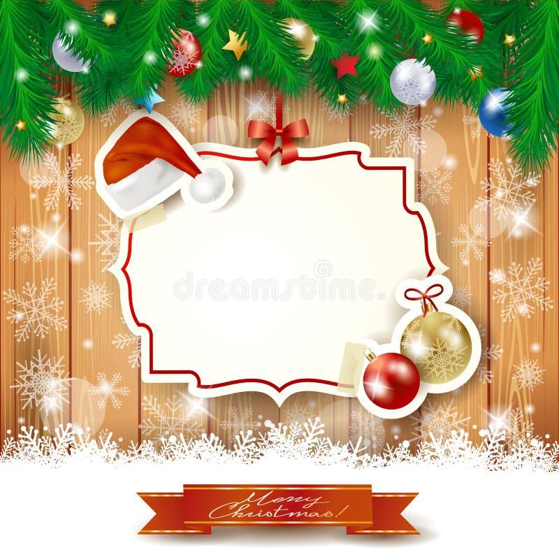 Weihnachtshintergrund mit Aufkleber, Hut und Flitter vektor abbildung