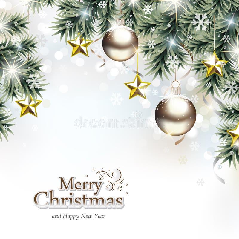 Weihnachtshintergrund mit dekorativen hängenden Verzierungen lizenzfreie abbildung