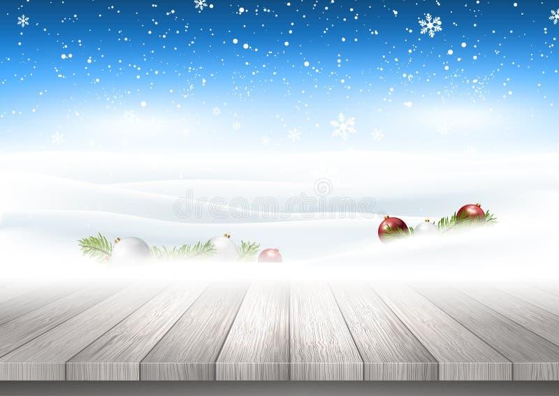 Weihnachtshintergrund mit dem Holztisch, der heraus zum schneebedeckten Land schaut stock abbildung