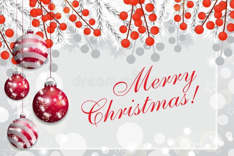 Weihnachtshintergrund mit den Abies grandis-Niederlassungen und Stechpalmenbeeren, die roten Flitter hängen Vektor lizenzfreie abbildung