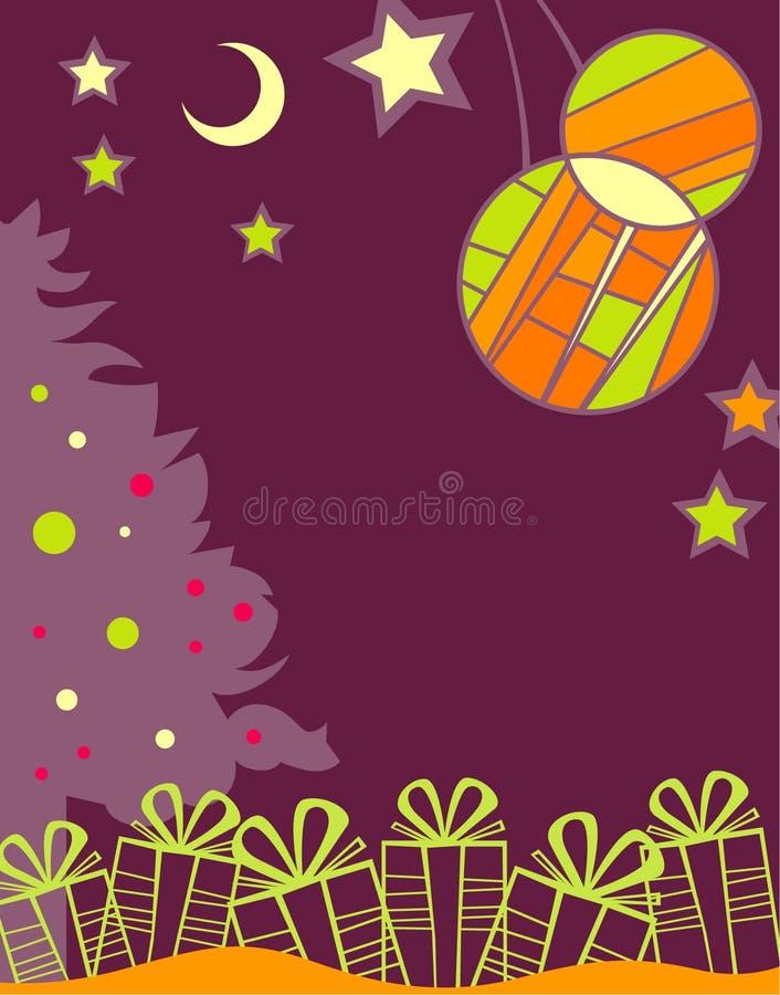 Weihnachtshintergrund mit den Geschenken stock abbildung