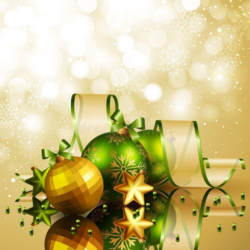Weihnachtshintergrund mit den grünen und goldenen Kugeln lizenzfreie abbildung