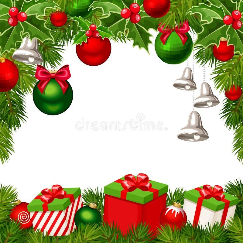 Weihnachtshintergrund mit den roten und grünen Bällen, Glocken, Geschenkboxen, Tannenbaum verzweigt sich lizenzfreie abbildung