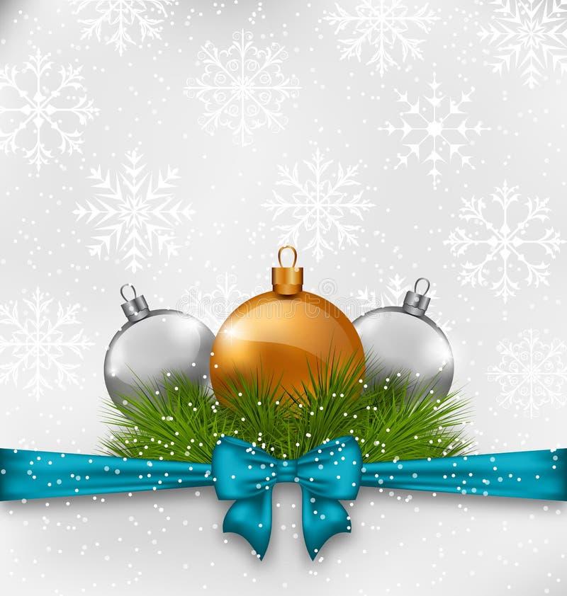 Weihnachtshintergrund mit den Tannenzweigen und -Glaskugeln lizenzfreie abbildung