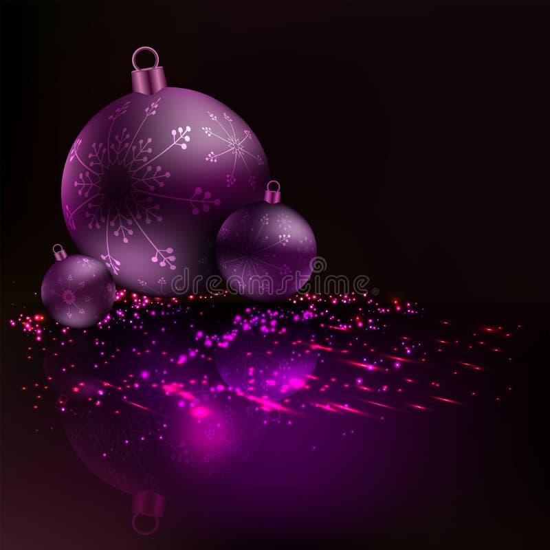 Weihnachtshintergrund mit drei Bällen mit Schneeflocken und vielen Glanz lizenzfreie abbildung