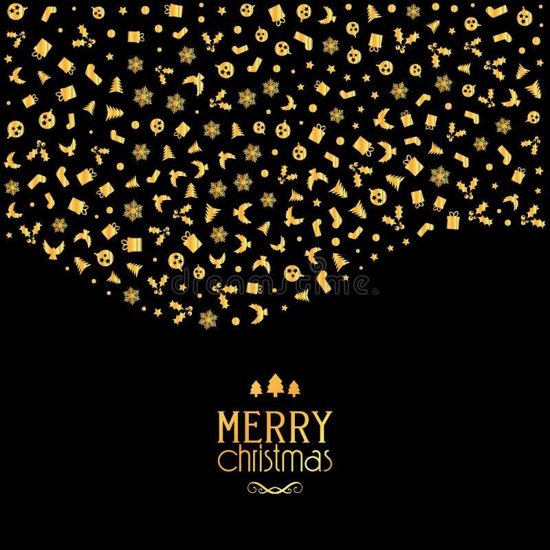 Weihnachtshintergrund mit festlichen Ikonen in den metallischen Goldfarben lizenzfreie abbildung