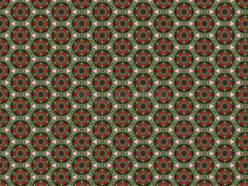 Weihnachtshintergrund mit Filzblumen von roten Blumenblättern und von grünen Blättern und ein Muster von Blau- und Goldperlen lizenzfreie abbildung