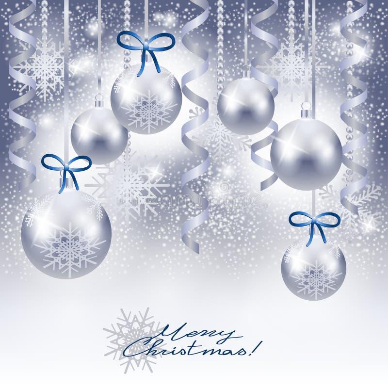 Weihnachtshintergrund mit Flitter im Silber lizenzfreie abbildung