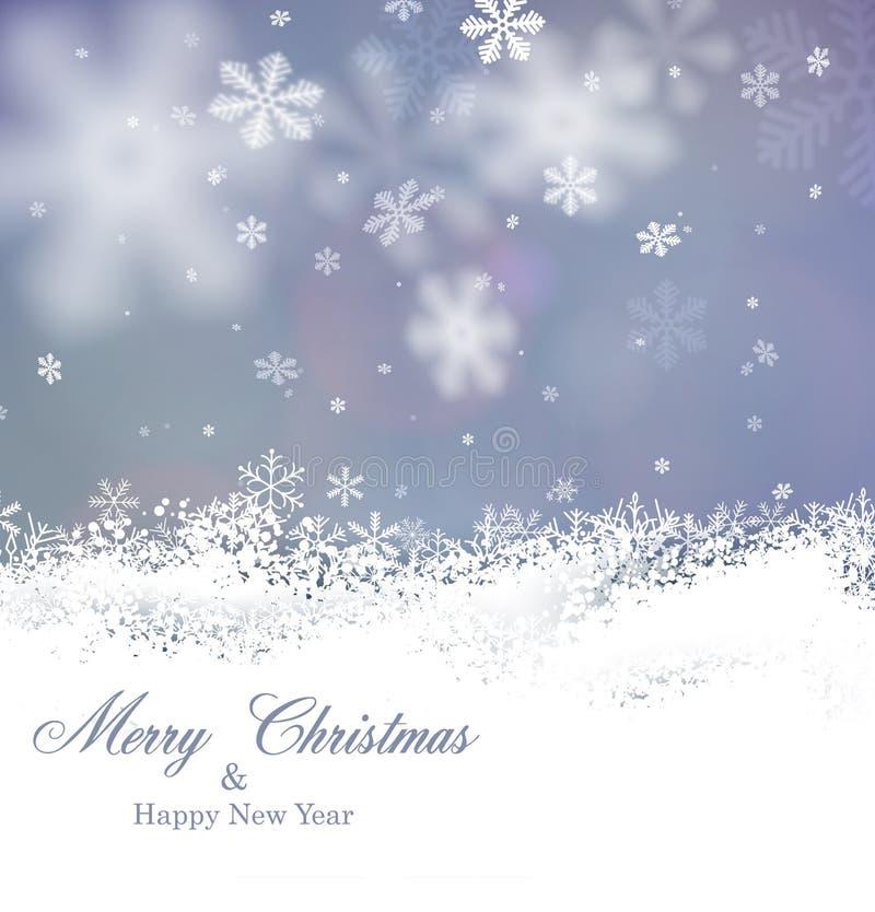 Weihnachtshintergrund mit gefallenen Schneeflocken lizenzfreie abbildung
