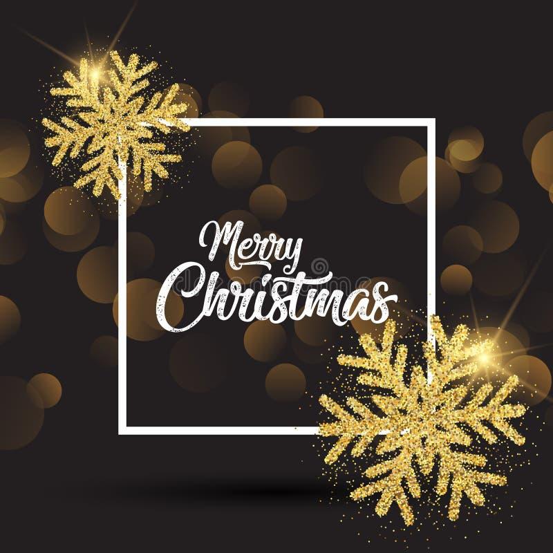Weihnachtshintergrund mit glittery Schneeflocken und weißem Rahmen lizenzfreie abbildung