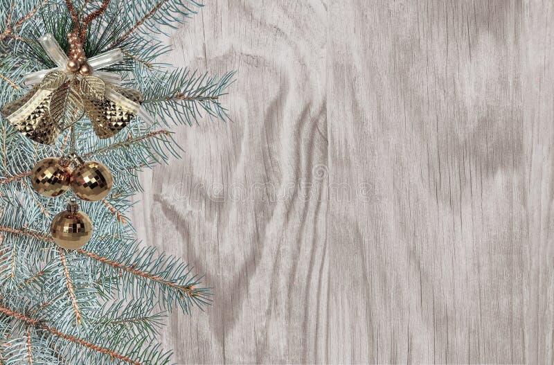 Weihnachtshintergrund mit grünen Tannenbaumasten und goldenem Dezember lizenzfreies stockbild