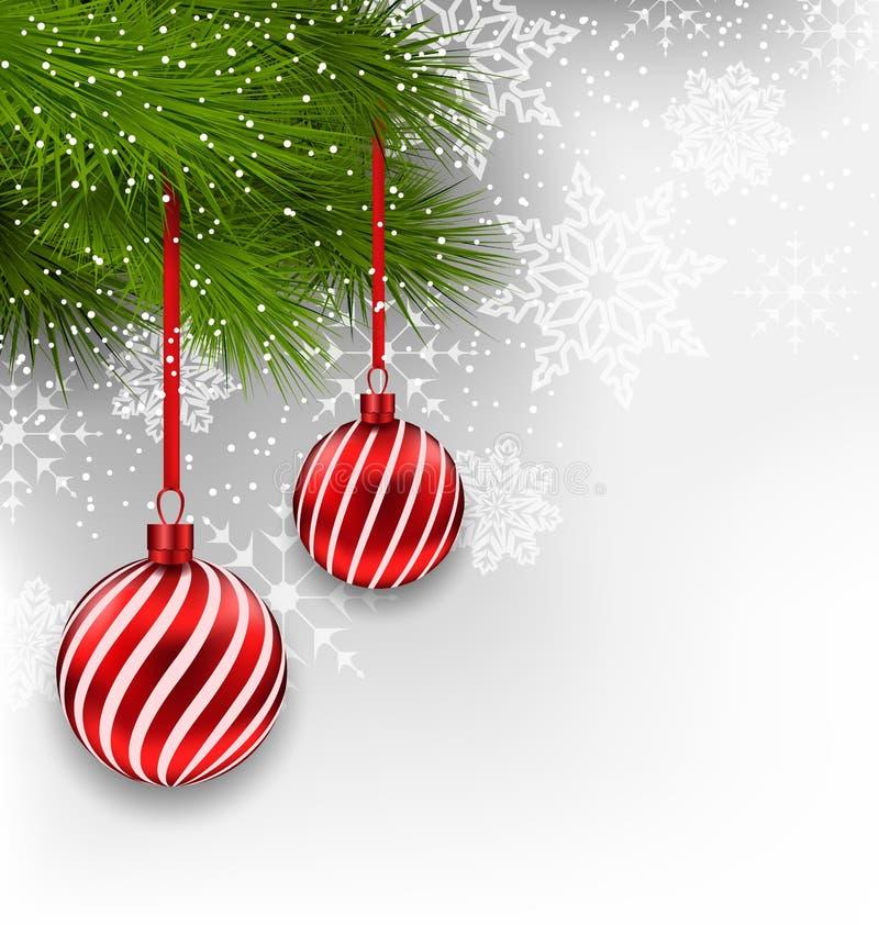 Weihnachtshintergrund mit hängenden Glaskugeln und Tannenzweigen stock abbildung