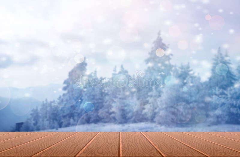 Weihnachtshintergrund mit hölzernen Planken - Winterhintergrund lizenzfreie stockbilder