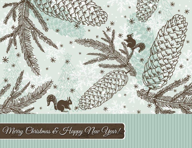 Weihnachtshintergrund mit Kegel und Schneeflocken stock abbildung