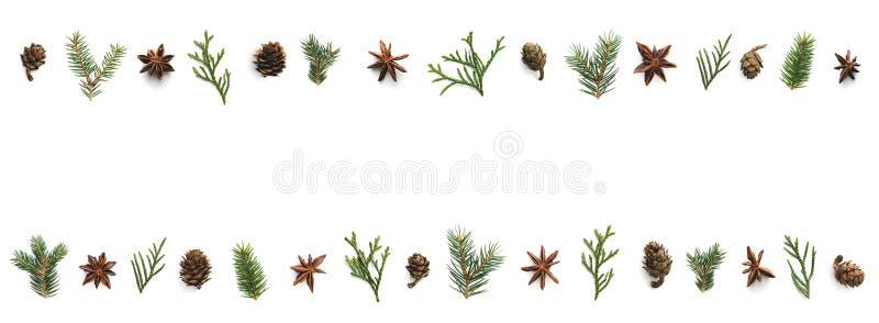 Weihnachtshintergrund mit Kegeln, Anise Stars And Green Twigs stockbild