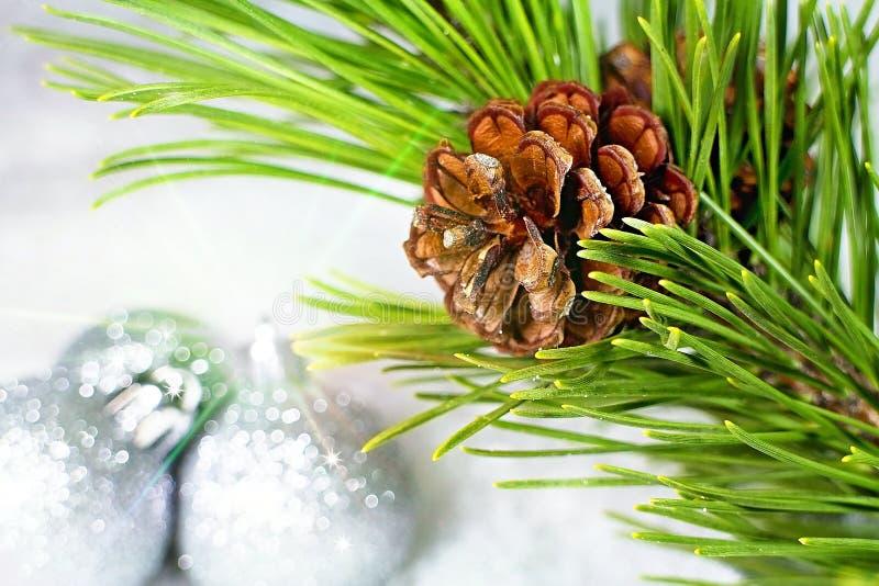 Weihnachtshintergrund mit Kiefernkegel und Lichteffekten stockfotografie