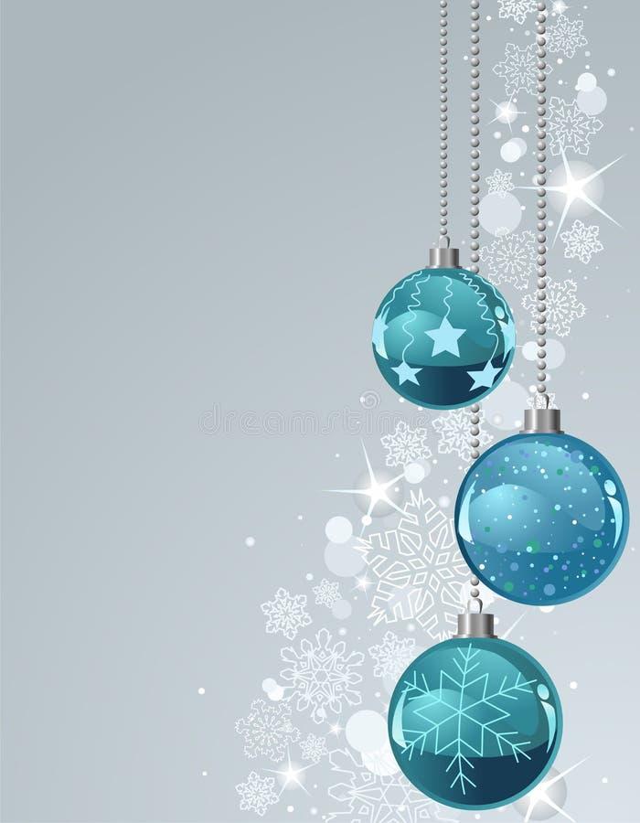 Weihnachtshintergrund mit Kugeln und Schneeflocken lizenzfreie abbildung