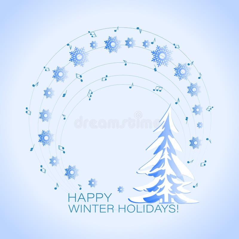 Weihnachtshintergrund mit Nadel und Schnee Musikalische Feiertagskarte stock abbildung