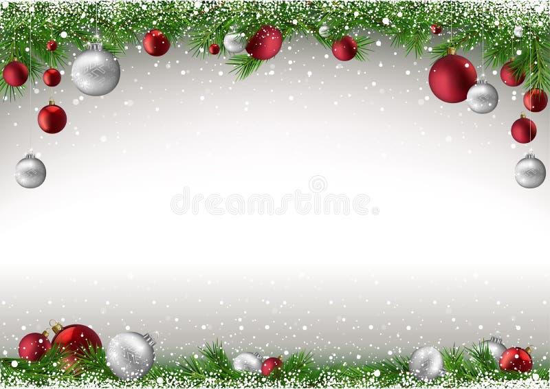 Weihnachtshintergrund mit Niederlassungen und Flitter stock abbildung