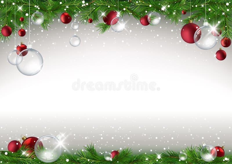 Weihnachtshintergrund mit Niederlassungen und Flitter lizenzfreie abbildung