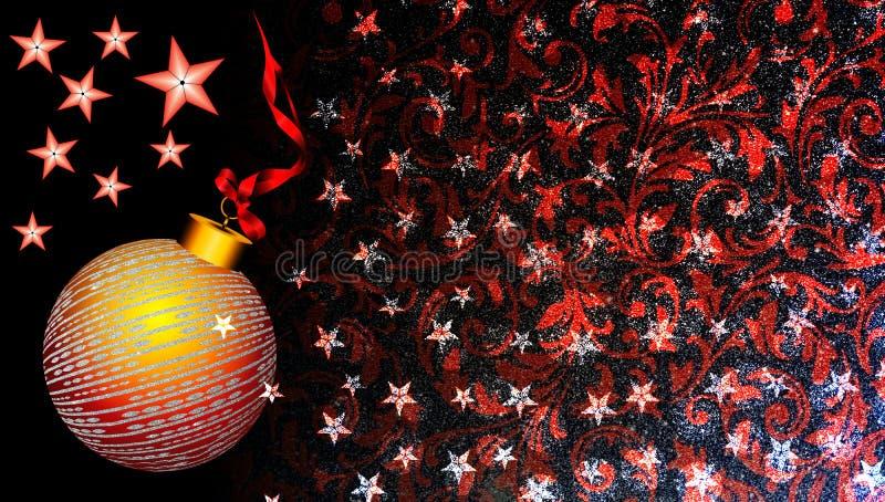 Weihnachtshintergrund mit Rot und Goldverzierung, Stern und Band auf schwarzem Funkelnhintergrund lizenzfreie abbildung