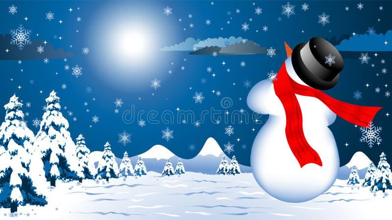 Weihnachtshintergrund mit Schneemann vektor abbildung
