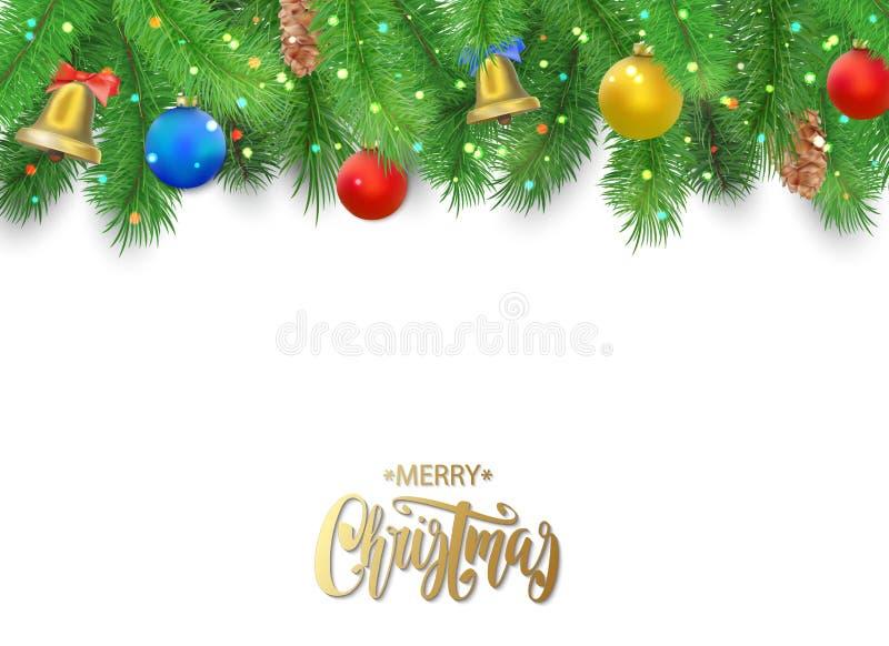 Weihnachtshintergrund mit Tannenbaumasten, Kiefernkegel, Glocke, Bogen und den roten, blauen, gelben Bällen vektor abbildung