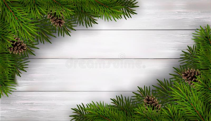 Weihnachtshintergrund mit Tannenzweigen auf weißem Holztisch vektor abbildung