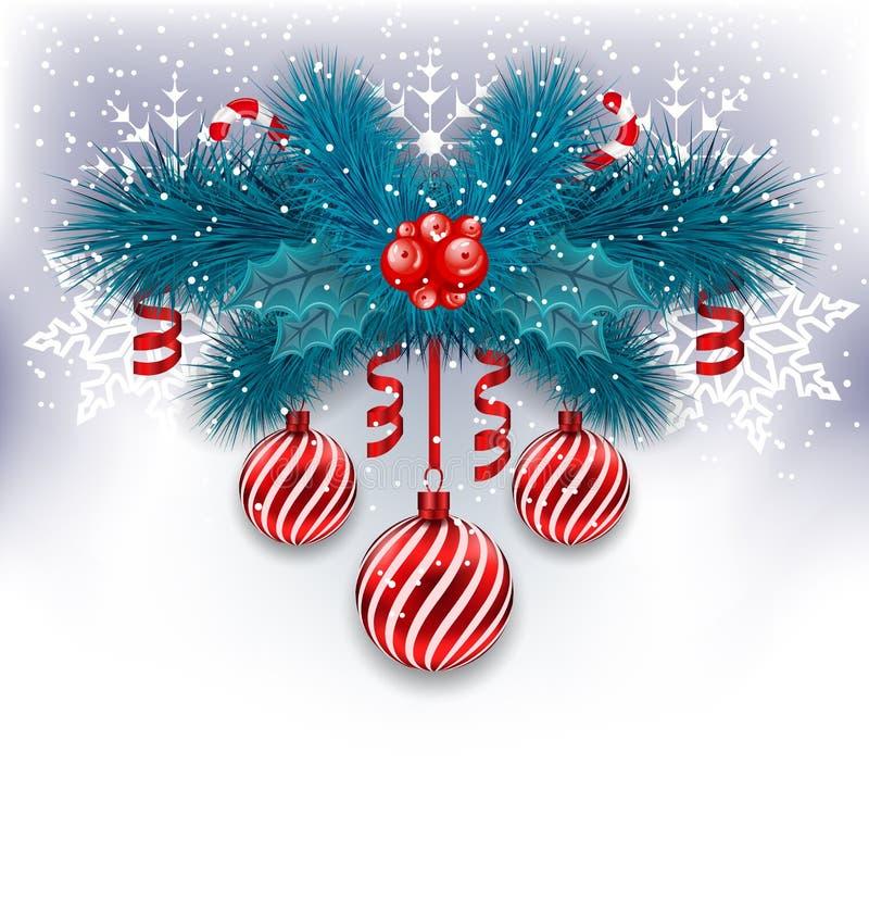 Weihnachtshintergrund mit Tannenzweigen, Glaskugeln und süßem Ca stock abbildung
