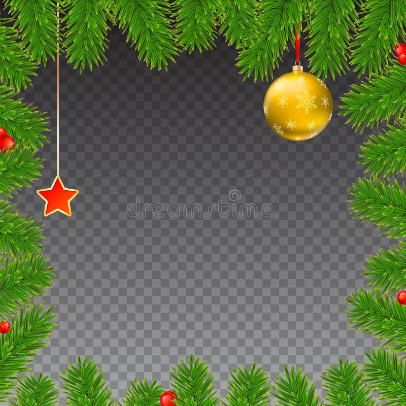 Weihnachtshintergrund mit Tannenzweigen, roten Beeren, Bällen des neuen Jahres und Stern vektor abbildung