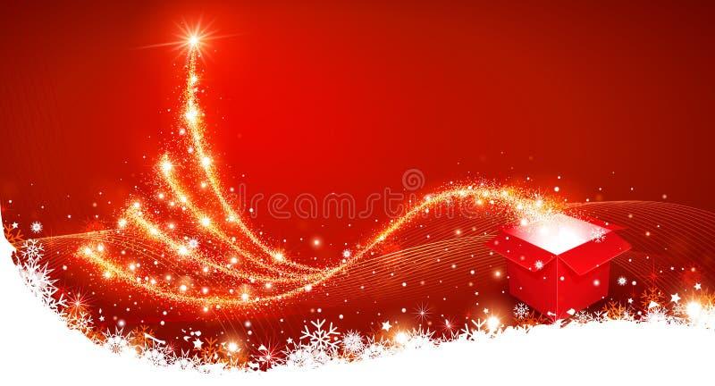 Weihnachtshintergrund mit Weihnachtsbaum lizenzfreie abbildung