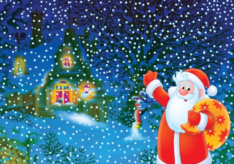 Weihnachtshintergrund mit Weihnachtsmann stock abbildung