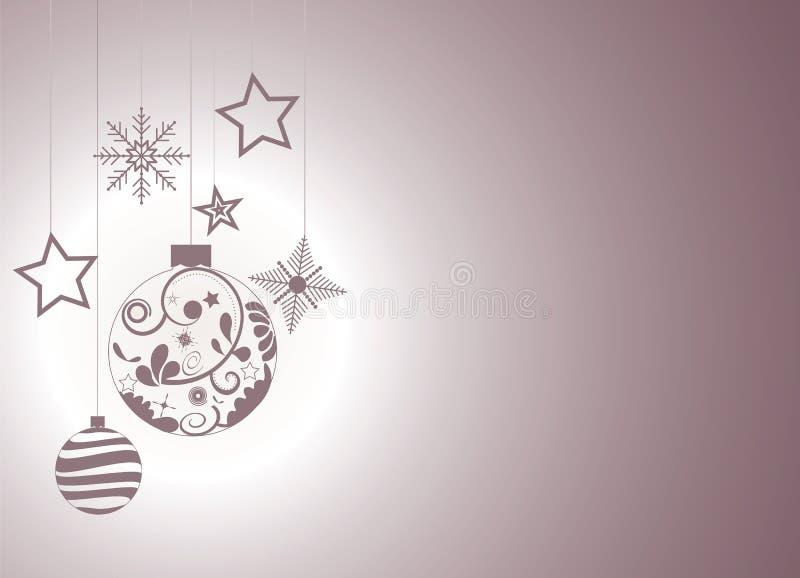 Weihnachtshintergrund mit Weihnachtsverzierungen, -schneeflocken und -sternen stock abbildung