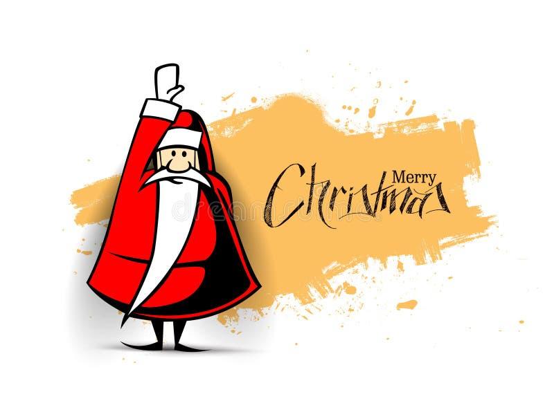 Weihnachtshintergrund-Santa Claus-Handhoher Versuch zu fliegen vektor abbildung