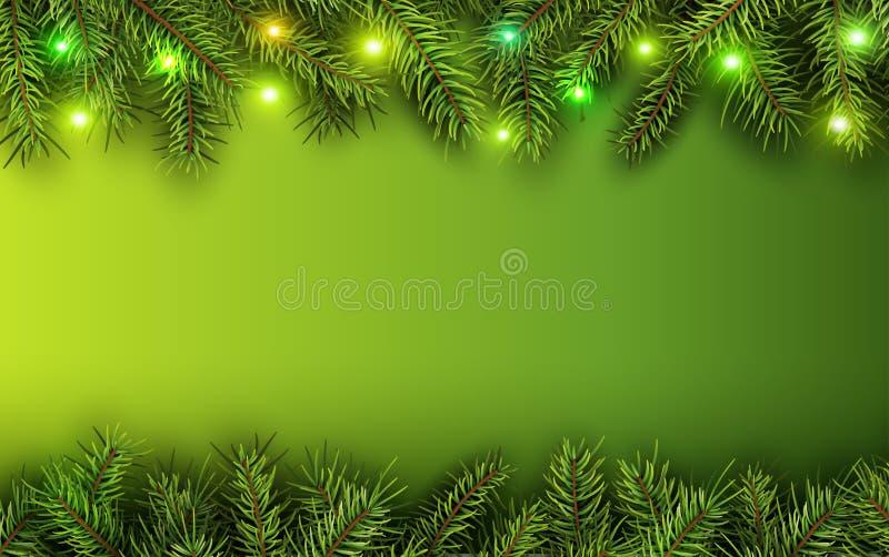 Weihnachtshintergrundgrün-Tannenbaum vektor abbildung