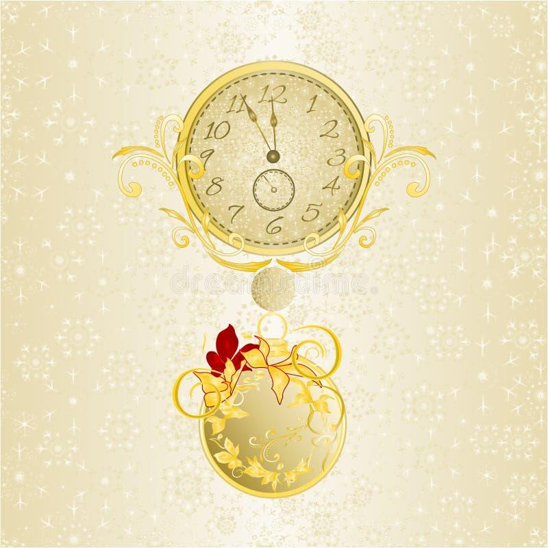 Weihnachtshintergrunduhr in den goldenen Schneeflocken und in der Poinsettia des neuen Jahres und goldene Weihnachtsverzierungswe stock abbildung