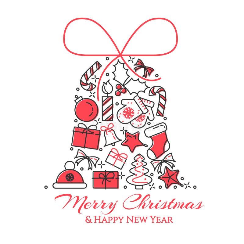 Weihnachtshorizontale Fahne mit Baum, Geschenke, Dekorationen in der Form der Glocke Flache Linie Kunst Auch im corel abgehobenen vektor abbildung