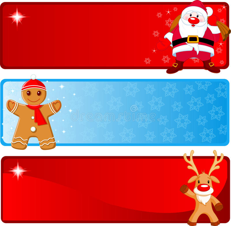 Weihnachtshorizontale Fahnen stock abbildung