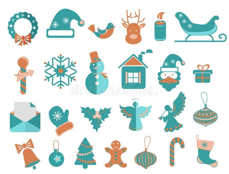 Weihnachtsikonen eingestellt stock abbildung