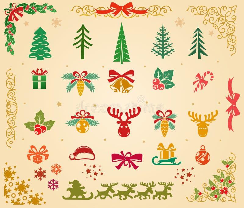 Weihnachtsikonen eingestellt auf Pergament lizenzfreie abbildung
