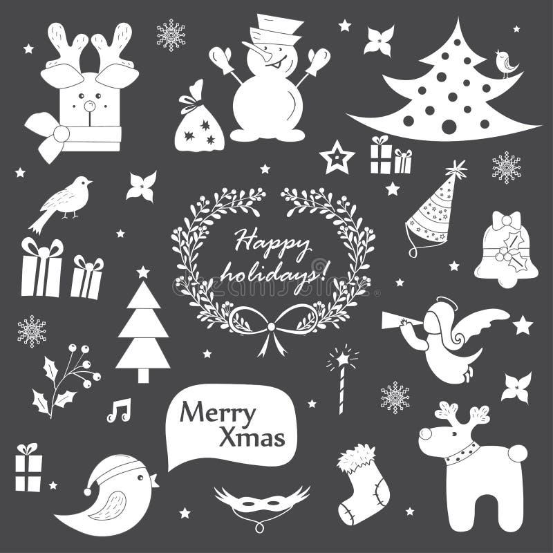 Weihnachtsikonen, -elemente und -illustrationen eingestellt lizenzfreie abbildung