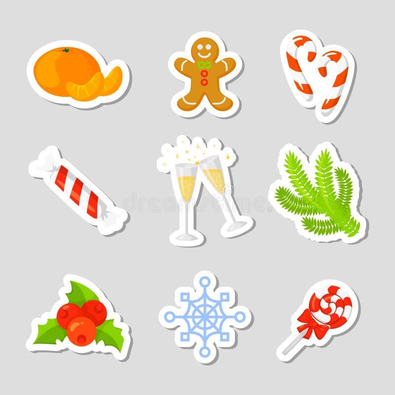 Weihnachtsikonen-gesetzter Sammlungs-Vektor karikatur Traditionelle Symbole des neuen Jahres Ikonengegenstände Getrennt vektor abbildung