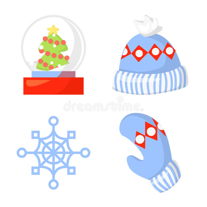 Weihnachtsikonen-gesetzter Sammlungs-Vektor karikatur Traditionelle Symbole des neuen Jahres und Ikonengegenstände Hüte, Handschu lizenzfreie abbildung