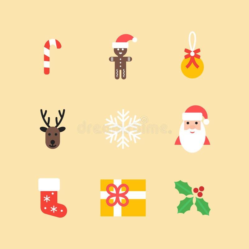 Weihnachtsikonen-Sammlung Satz des neuen Jahres lokalisierte Symbole in der flachen Art Vektorelemente für Ihre Auslegung lizenzfreie abbildung