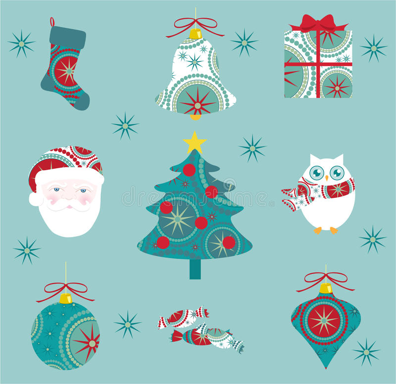 Weihnachtsikonen-Set stock abbildung